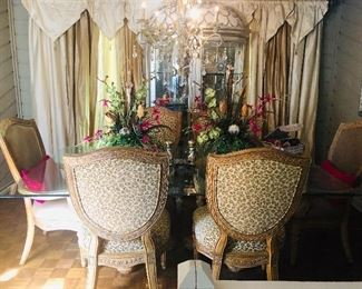 This could be your dining room! Everything in this pic is for sale including the curtains, chandelier and Henredon china/display cabinet!