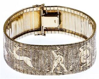 14k Gold Wide Bracelet