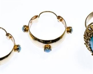18k Gold and Persian Turquoise Ring and Earring Assortment