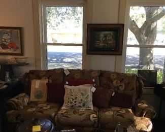 Sofa by Mason Tyler, Vintage Rocky Mountain National Park Pictures In Original Bag, Hardanger Cross Stitch Pillow