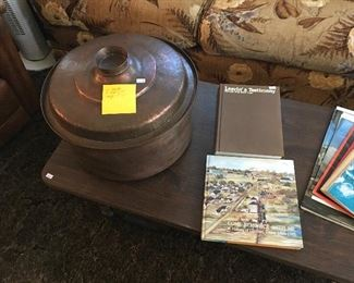 """16"""" diameter, 11"""" high with lid Hammered Copper Pot (weighs 13.5 pounds), Come Reminisce With Me A History of Glidden, Texas 1885-1985 & Leavin' a Testimony (both signed by authors)"""