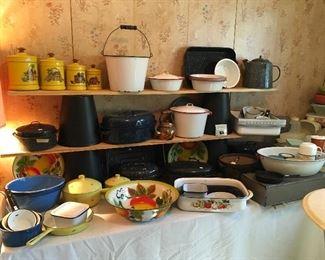 Vintage Enamelware & Cast Iron