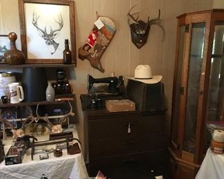 """Singer Sewing Machine, Needlepoint """"The Colonel"""" Christmas Stocking, & Gun Cabinet"""