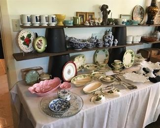 Frankoma Pottery, Franciscan Ivy Dishes , Jae of California Pottery, Blue & White Decor, & Milk Glass