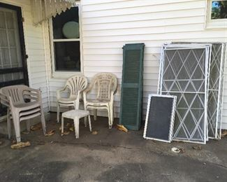 Vintage Screens & Shutters & Outdoor Chairs