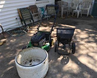 John Deere Push Lawn Mower & Vintage Washing Machine Tub