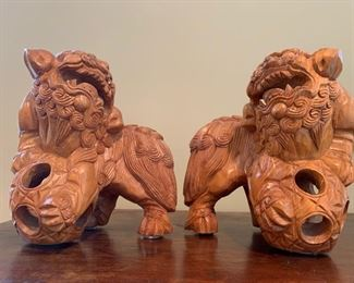 "8. Pair of Carved Wood Foo Dogs (10"")"