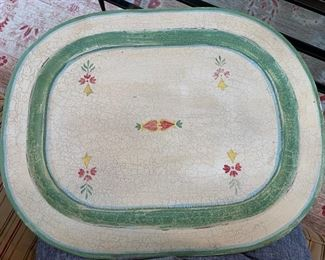 "14. Crackle Metal Tray w/ Amish Design (24"" x 18"")"