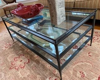 "1. Metal Coffee Table w/ 3 Beveled Glass Shelves (49"" x 27"" x 20"")"