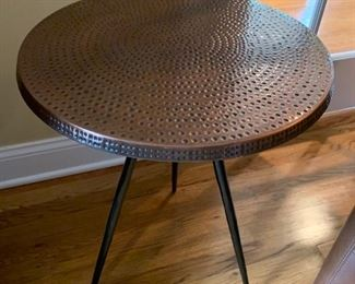 "17. Pair of Copper Top Tri - Leg Side Tables (18"" x 24"")"