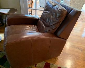 "18. Crate and Barrel Leather Recliner (35"" x 38"" x 35"")"