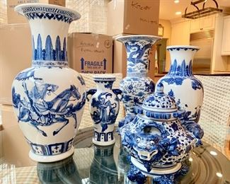 Collection of Blue & White Chinese Vases