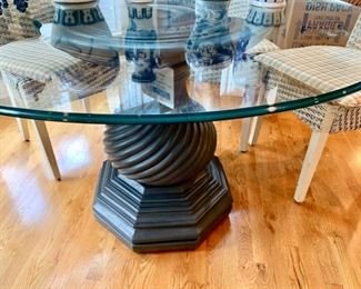 25. Glass Top Dining Table on Wood Carved Pedestal Base 48""