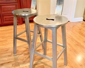 "27. Pair of Contemporary Metal Bar Stools (17"" x 17"" x 45"") (seat ht 30"")"
