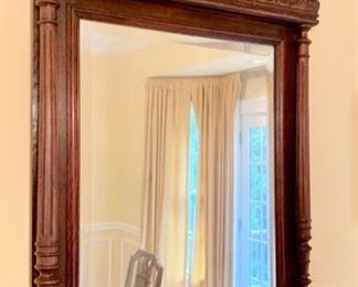 "34. Beveled Mirror w/ Carved Frame (32"" x 52"") (as is)"