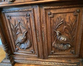 "33. Antique Carved Wood Sideboard (50"" x 20"" x 39"")"