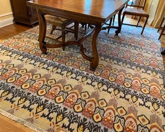 35. Hand Knotted Yellow Grey and Rust Rug (9' x 12')