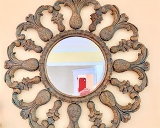 "51. Beveled Mirror w/ Painted Carved Wood Frame (33"")"