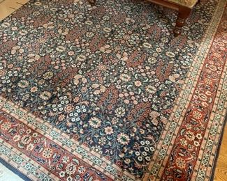 """49. Hand Knotted Botanical Rug (10'5"""" x 9')"""