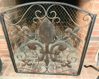 47. Wrought Iron Tri-Fold Fleur-de-lis Fireplace Screen