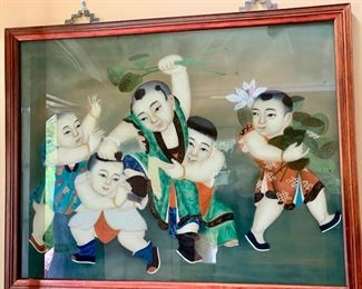 "55. Chinese Painting of Children (38"" x 32"")"