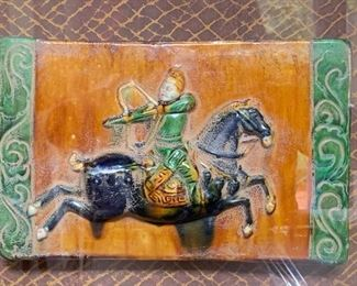 "56. Framed Asian Gained Tile of Warrior (22"" x 18"")"
