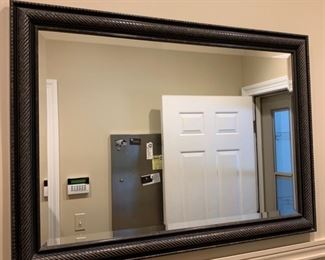 62. Beveled Mirror w/ Rubbed Black Frame