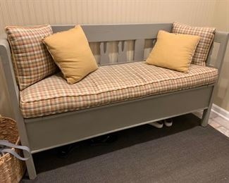 "60. Grey Storage Bench (69"" x 19"" x 39"")"