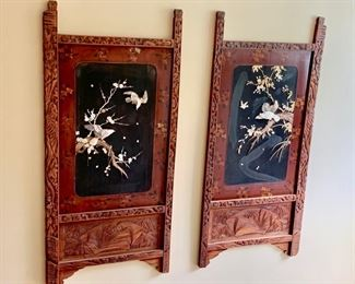 57. Pair of Asian Carved Wood Panelsw/ Hand Painting and Albalone Shell