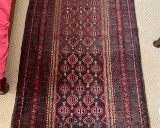 "70. Antique Hand Knotted Brown Wool Rug (44"" x 84"")"