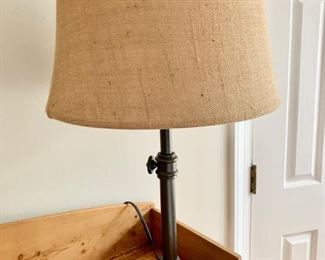 "81. Pair of Metal Lamp w/ Burlap Shade (24"")"