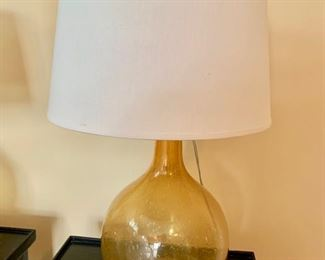"86. Pair of Hand Blown Yellow Lamps (25"")"