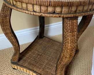 "85. Rattan Side Table (16"" x 18"")"