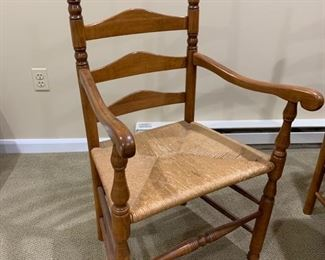 "93. Pine Drop Leaf Dining Table w/ 2-10"" Leaves (22"" x 30"" x 60"") 94. Set of 8 Ladder Back Chairs w/ Rush Seat 2 Arm Chairs and 6 Side Chairs"