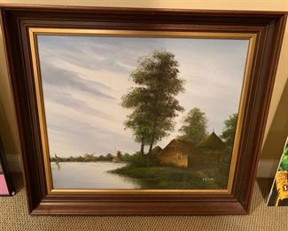 "106. Framed Oilon Canvas Dutch Landscape signed C.R.D. Rijen (23"" x 19"")"