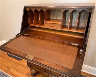 "123.  Antique Desk w/ 3 Drawers (30"" x 18"" x 41"")"