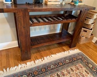 "125. Rustic Console Table w/ Wine Rack (61"" x 16"" x 35"")"