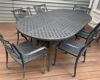 "134. Cast Aluminum Oval Dining Table (85"" x 42"" x 29"") w/ 8 Arm Chairs"