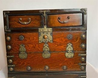 Decorative chest with brass accents. https://ctbids.com/#!/description/share/232081