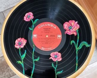 Hand painted record albums by a local up and rising artist Isabela.