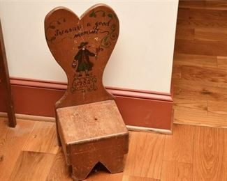1. Hand Decorated Colonial Style Pine Wood Step Stool