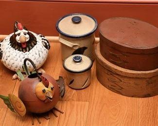3. Pair Shaker Style Boxes wCrocks Folk Art Chickens
