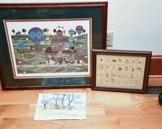 5. Three 3 Works of Art wFarmhouse WC  Folk Art Print
