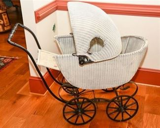 7. Antique Wicker Baby Stroller Carriage Doll Display