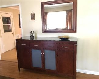 #6 Credenza/Media Console/Buffet  $125 Goes with Dining Table Set #7 Wood Framed Mirror $30