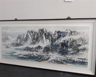 Large Asian mountain print