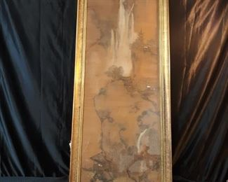 Super rare 150 year old scroll wall art on silk