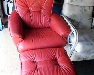 Stressless type reclining chair and ottoman