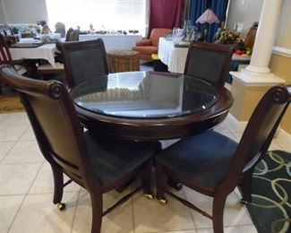 4 upholstered chairs on casters
