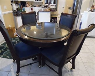 Dark Wood round table with built-in Lazy Susan